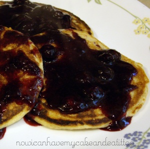 THM pancakes w-blueberry syrup